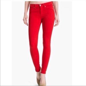 Hudson Nico Super Skinny Mid Rise Red Jeans Sz 29